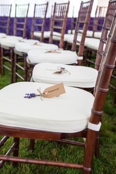 Chiavari Ceremony Chairs with Lavender Reserved Seats  https://www.theknot.com/real-weddings/chiavari-ceremony-chairs-with-lavender-reserved-seats-photo