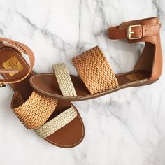 Dolce Vita Sandals Dolce Vita Sandals. Size 7.5. Brand new in box. Colors: bone/honey Stella/tan/cream. Ankle buckles in gold hardware. Comfy and cute! Great for Spring and Summer. No trade. All images are my own. Dolce Vita Shoes Sandals