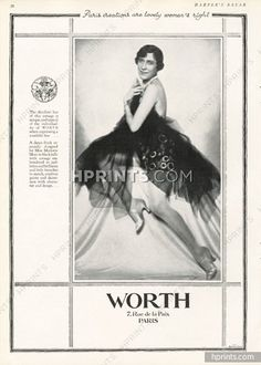 Worth 1927 Marjorie Moss, a dance frock, black tulle, corsage, Embroidery