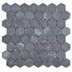 Merola Tile Crag Hexagon Black 11-1/8 in. x 11-1/8 in. x 10 mm Slate Mosaic Floor and Wall Tile GDXCHXB at The Home Depot - Mobile