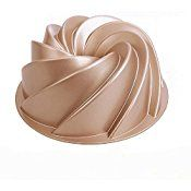 Johnson & Sookie Carbon Steel Big Whirlwind Non-Stick 25cm Cake Pan/Bundt Cake Tin/Cake Tin 10 Inch/Fluted Deep Ring Mould,Gold (10 x 3._.8 - Inch Deep)