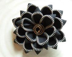 Black Recycled Vintage Zipper Brooch