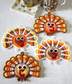 Crochet Turkey Coaster - don't crochet, paint on rocks and stones instead