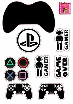 Playstation Cake, Xbox Cake, Ps4, Cake Templates, Video Game Party, Bubble Stickers, The Game Is Over, Silhouette Clip Art, Baby Clip Art