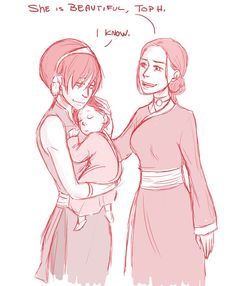 """mom!Toph, squeeee! """"she is beautiful"""" by peekabooga...more awesome fanart...totally have a thing for anything with Lin & Toph"""