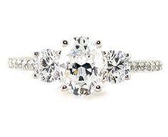 Oval White Sapphire Engagement Ring 14K 3 Stone Diamond Sapphire Ring Custom Bridal Jewelry