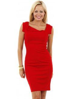 Stella Morgan Red Jersey Asymmetric Neckline Pencil Dress #mididresses #midi