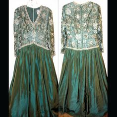 """Vintage Victoria Long Sleeve Teal Green Ball Gown with Beading Size 12 Dress is in Great Condition, with some wear  From Smoke Free, Pet Free Environment  100% Rayon & Acetate  Measurements  Length - 60"""" Arm Pit to Arm Pit - 19.5 Chest - 36"""" Waist - 32""""  with Full Underslip Petticoat  ALL SALES FINAL  Eaby's Price $129.99 / Our Price U.S. Orders - $49.99 Shipped!  http://www.midcenturymoderncool.com/VICTORIADESIGNERGOWN.html"""