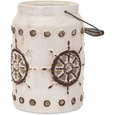 IMAX Neely Nautical Lantern ($56) ❤ liked on Polyvore featuring home, home decor, candles & candleholders, props, nautical theme home decor, ceramic home decor, nautical home accessories, nautical home decor and ceramic lanterns