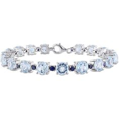 Womens Blue Blue Topaz Sterling Silver Tennis Bracelet ($667) ❤ liked on Polyvore featuring jewelry, bracelets, blue topaz jewelry, blue jewelry, blue topaz tennis bracelet, tennis bracelet and sterling silver jewelry