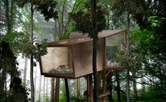 Antony Gibbon's Inhabit Treehouse Lets You Sleep High Up in the Trees Inhabit Treehouse by Antony Gibbon Designs – Inhabitat - Green Design, Innovation, Architecture, Green Building Modern Tree House, Tyni House, Tree House Plans, Cedar Cladding, Tree House Designs, Design Fields, In The Tree, Minecraft Houses, Building A House