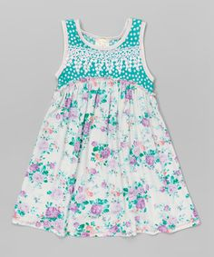 Look what I found on #zulily! Mint Floral A-Line Dress - Toddler & Girls #zulilyfinds