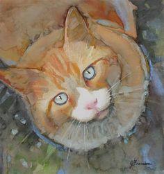 """""""Looking Up"""" - Original Fine Art for Sale - © Jeannette Fromm...Cat Art"""