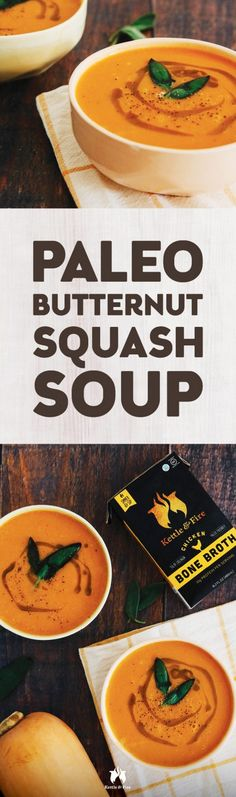 This #paleo butternut squash soup is a rich, creamy comfort food that's often loaded with milk or heavy cream and butter. Our version of this tasty treat uses full-fat #coconut milk and #ghee instead, giving you the same rich experience without the lactose that tends to bother those with #gut issues. #ButternutSquash #BoneBroth #BoneBrothBenefits #Healthy #Health #HealthyLiving #HealthyLifestyle #BoneBrothDetoxDiet #CleanEating #HealthyFood #HealthyRecipe #BestRecipe #BestHealthyRecipe Paleo Butternut Squash Soup, Bone Broth Benefits, Bone Broth Soup, Good Food, Yummy Food, Detox Soup, Paleo Diet, Coconut Milk, Food Videos