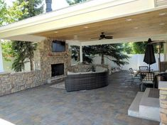 Ogden Covered Patio with Fireplace and TV Makes Backyard Entertaining a Dream Backyard Patio, Backyard Landscaping, Landscaping Ideas, Patio Design, Exterior Design, Patio Builders, Patio Kitchen, Covered Pergola, Covered Patios