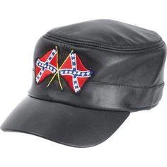 1228d744c0f Solid Genuine Leather Cap. Flag PatchesConfederate ...