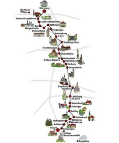 Map of the romantic road Germany
