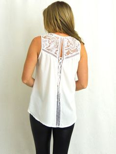 Steal My Sunshine Crochet Lace Up Top - White - $38.00 | Daily Chic Tops | International Shipping