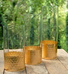 Gold Honeycomb Cylinder Vase 10. Gold dipped vases