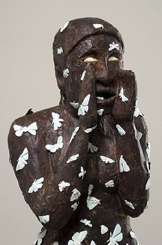Detail, 'Hither' (2008) by American artist Alison Saar (b.1956). Wood, copper, tar and paint, 64 x 16 x 14 in. via ArtSlant