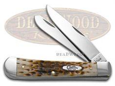 CASE XX Jigged Amber Bone Trapper Stainless Pocket Knife Knives