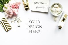 Styled Stock Photography Desktop, roses, gold, white, flatlay, stapler, accessories