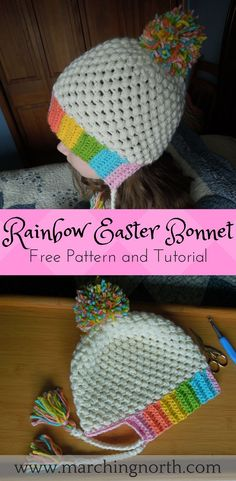 Rainbow Easter Bonnet Hat - Free Crochet Pattern and Tutorial - www.marchingnorth.com