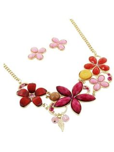 "17"" Goldtone and Fuchsia Stone Flower Necklace and Earring Set"