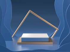 Render Of Abstract Blue Room With Podium And Golden Frame Studio Portrait Photography, Creative Photography, Photography Studios, Inspiring Photography, Digital Photography, Fashion Photography Inspiration, Blue Rooms, Creative Portraits, Packaging Design Inspiration