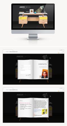 """Diseñamos para Amor Perdía una imagen de marca femenina, sencilla y fresca, acompañada de una web original y desestructurada, acorde a ella y sus obras, recreando su escritorio de trabajo. El diseño de la web, nos invita a """"espiar"""" su lugar sagrado."""