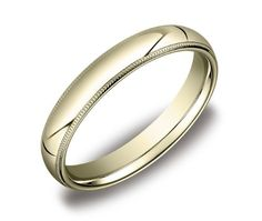 Men's 4mm 10k Yellow Gold Comfort Fit Band with Milgrain Size 9.5 $198.00