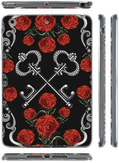 "Amazon.com: Black, Silver and Red {Roses and Keys} Soft & Smooth Silicone Cute 3D Fitted Bumper Back Cover Gel Case for iPad Mini 1, 2 & 3 by Apple ""Durable & Slim Flexible Fashion Cover w/ Amazing Design"": Computers & Accessories"