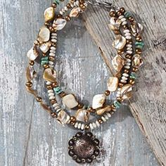 Antiqued-Copper-And-Gemstone-Multi-strand-Necklace