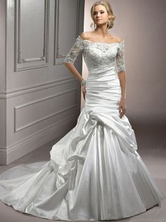 Trumpet/Mermaid Off-the-shoulder Satin Chapel Train White Pick-Ups Wedding Dresses