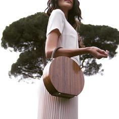 Walnut Wood & Chocolate Calf leather Bumi Mini 22cm Top Handle Bag by BU Wood   Moda Operandi Image Via @buwood