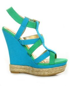 You'll be cruisin' in cuteness with the Bamboo Driven 81 Blue Multi Super T-Strap Platform Wedges! Teal blue canvas criss-crosses with green to form a modified T-strap. T Strap, Ankle Strap, Earn Money Online, Earning Money, Blue Wedges, Blue Canvas, Matte Gold, Teal Blue, Wedge Heels