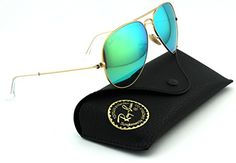 RayBan RB3025 Aviator Large Metal Mirrored Unisex Sunglasses Matte Gold FrameCrystal Green Mirror MultiGreen Lens 11219 62 *** Click on the image for additional details.