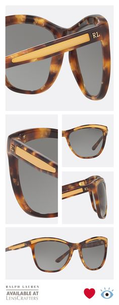 c84ceb66f41b These Art Deco inspired Ralph Lauren tortoise sunglasses with sophisticated  gold details on the temple are