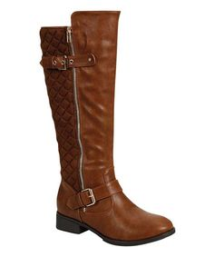 Cognac Warsa Quilted Boot | zulily    #streetstyle
