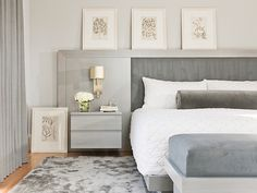 Nightstands with drawers let you keep lotions, books, reading lights, and whatever else you may need close at hand without cluttering up the top surface. | Leslie Fine Interiors
