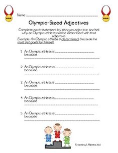 Olympic-Sized Adjectives- Freebie!  - pinned by @PediaStaff – Please Visit  ht.ly/63sNt for all our pediatric therapy pi
