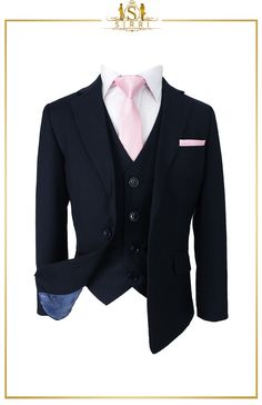 Stylish and classy. The clean lines on this gorgeous boys suit are on point for any event this season with this great looking Romano boys French navy blue suit. Shop now at SIRRI kids #boys suits for weddings #baby boy suit #toddler suits