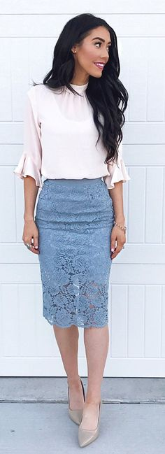 #spring #outfits White Blouse & Grey Lace Skirt & Grey Pumps