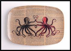 Personalized Valentine PLATTER Octopus Lovers by BlackBaroque, $22.00