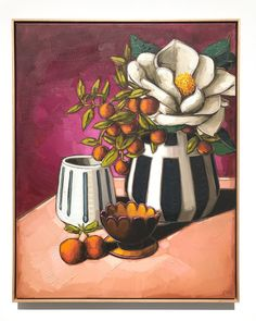 Magnolia and Mini Cumquats. A superb large format original work by A beautiful painterly piece full of rich colour. Painting & Drawing, Watercolor Paintings, Composition Painting, Owl Canvas, Small Canvas Paintings, Painting Still Life, Art Sketches, Flower Art, Art Projects