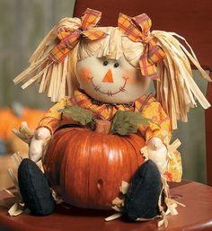 Pumpkin Scarecrow Girl