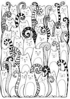 Cats Coloring pages colouring adult detailed advanced printable Kleuren voor volwassenen coloriage pour adulte anti-stress kleurplaat voor volwassenen by margret