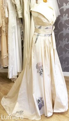 Exclusive new design by Petite Lumiere- Japanese inspired silk wedding dress with 50's retro glamour. Vintage kimono silk fabric and Swarovski elements; removable cover-up