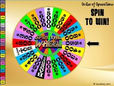 """Order of Operations """"Spin to Win"""" Game - so much fun! The wheel really spins and the kids love!"""