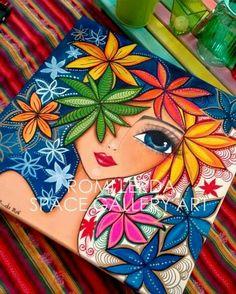 Pointillism, Dotillism, Dot Art, Mandala Art, on a frame. Painting Patterns, Fabric Painting, Madhubani Art, Indian Folk Art, Indian Art Paintings, Art Drawings Sketches, Whimsical Art, Art Plastique, Mandala Art